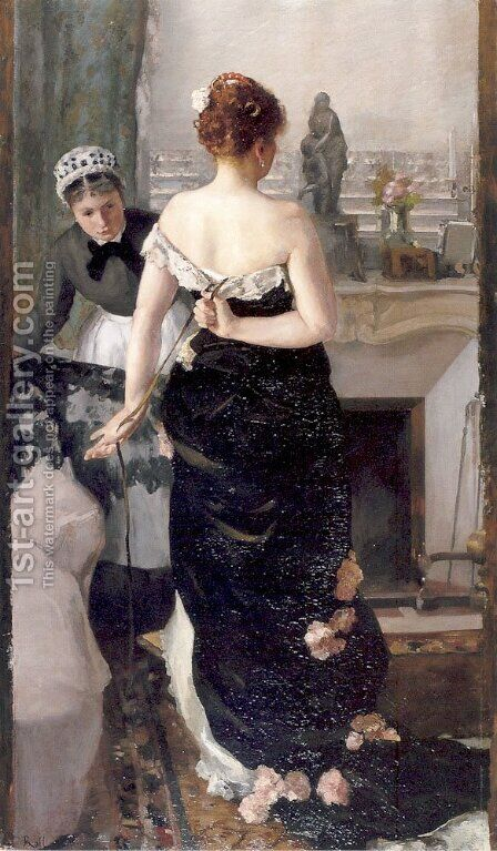 Retour du bal (Return of the Ball) by Alfred Roll - Reproduction Oil Painting