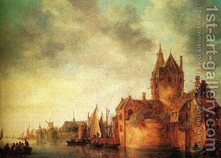 A Castle By A River With Shipping At A Quay by Jan van Goyen - Reproduction Oil Painting