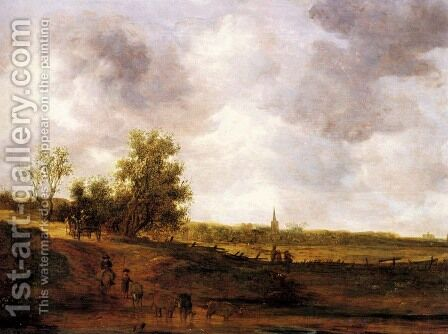 A rural landscape with peasants and a drover by a track, a village beyond by Jan van Goyen - Reproduction Oil Painting