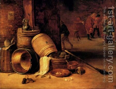 An interior scene with pots, barrels, baskets, onions and cabbages with boors carousing in the background by David The Younger Teniers - Reproduction Oil Painting