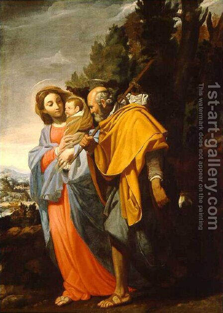Flight into Egypt by Domenico Fiasella - Reproduction Oil Painting