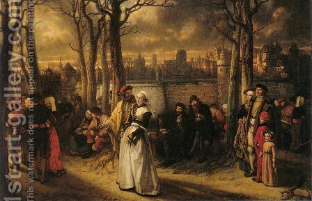 Promenade hors les murs (Walk out by the walls) by Baron Jan August Hendrik Leys - Reproduction Oil Painting
