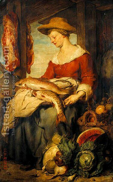Junge Frau mit Strohhut als Verkäuferin auf dem Markt (Young Woman with a Strawhat as a Shop Assistant at the Market) by Hans (Johann von Strasiripka) Canon - Reproduction Oil Painting