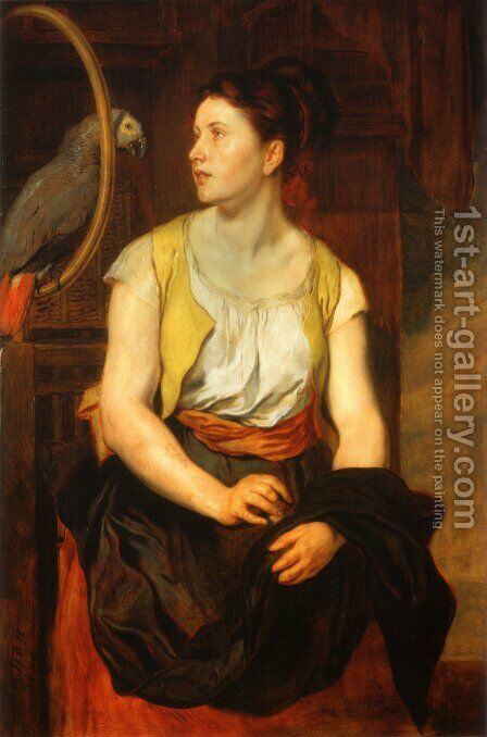 Mädchen mit Papagei (Die Gattin des Künstlers) (Girl with a Parrot (The Artist's Wife)) by Hans (Johann von Strasiripka) Canon - Reproduction Oil Painting