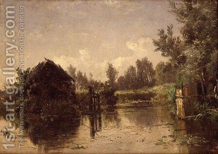 Canal abandonado. Vriesland (Holanda) (Abandoned Canal. Vriesland (Holland)) by Carlos de Haes - Reproduction Oil Painting