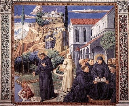 Scenes from the Life of St Francis (Scene 12, south wall) by Benozzo di Lese di Sandro Gozzoli - Reproduction Oil Painting