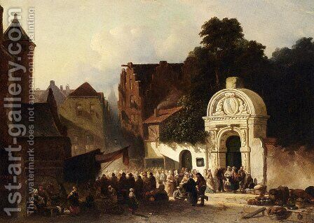 A Busy Market In A Dutch Town by Jacobus Adrianus Vrolijk - Reproduction Oil Painting