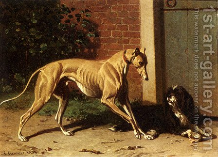A Greyhound And A Shepherd Dog by Conradyn Cunaeus - Reproduction Oil Painting