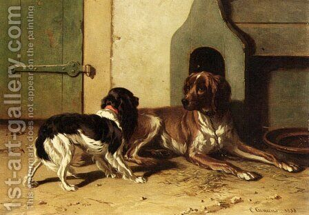 A King Charles Spaniel And A Drentse Partridge Dog by Conradyn Cunaeus - Reproduction Oil Painting