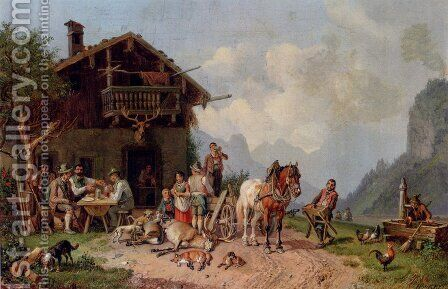 After The Hunt by Heinrich Bürkel - Reproduction Oil Painting