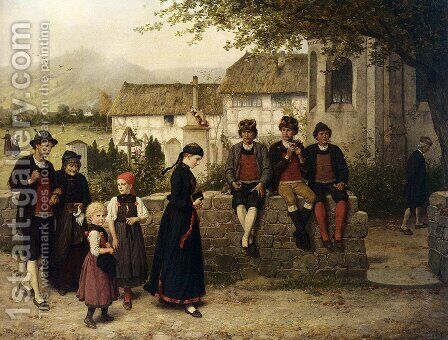 """Der Kirchgang"" by Hubert Salentin - Reproduction Oil Painting"