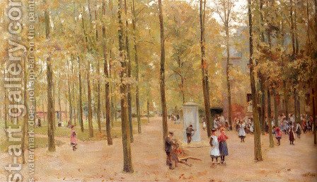 The Brink In Laren With Children Playing by Anton Mauve - Reproduction Oil Painting