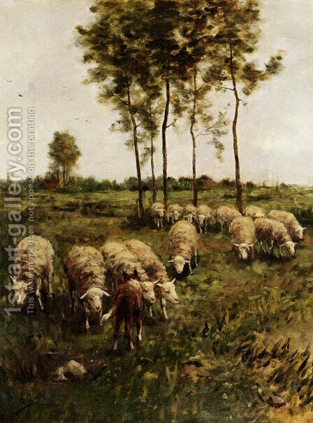 Watching The Flock by Anton Mauve - Reproduction Oil Painting