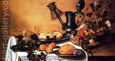 Still Life Of Fruit With Crab, Overturned Roehmer On Spout Of Jug by Cornelius Kruys - Reproduction Oil Painting