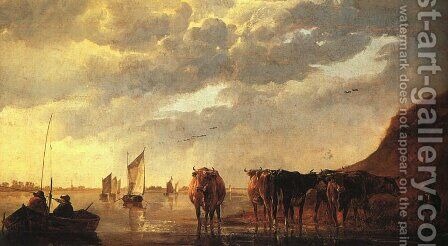 Herdsman with Cows by a River by Aelbert Cuyp - Reproduction Oil Painting