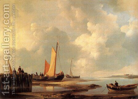 Figures At The Shore by Jan Christianus Schotel - Reproduction Oil Painting