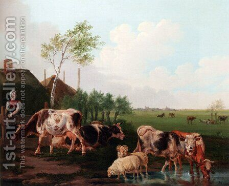 A Summer Landscape With Cows And Sheep By A Pool And A Milkmaid Watching by Albertus Verhoesen - Reproduction Oil Painting