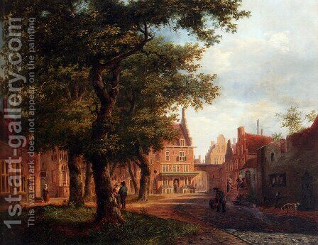 A Village Square With Villagers Conversing Under Trees by Bartholomeus Johannes Van Hove - Reproduction Oil Painting