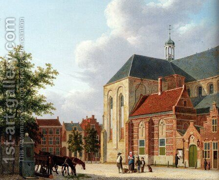 A View Of The Sint Jan's Kerkhof, Utrecht by Hendrik Van Oort - Reproduction Oil Painting