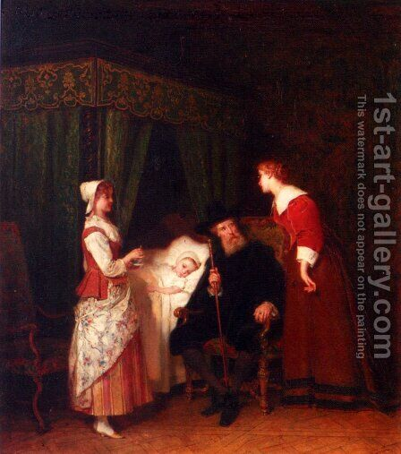 En Recuperance by Antoine Emile Plassan - Reproduction Oil Painting