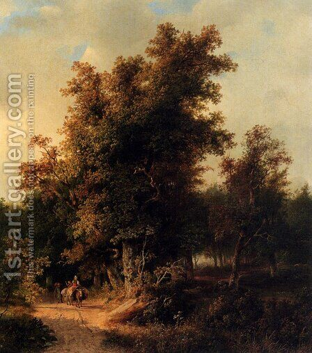 A Wooded Landcsape With Travellers On A Sandy Track by Cornelis Lieste - Reproduction Oil Painting