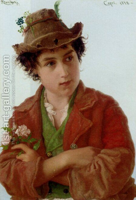 A Young Ciociara by Adriano Bonifazi - Reproduction Oil Painting