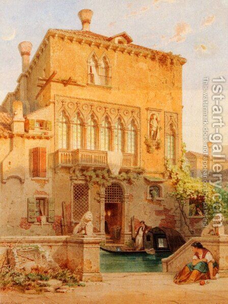 Haus Der Familie Moro-Othello, Venice by Eduard Gerhardt - Reproduction Oil Painting
