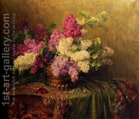 A Still Life With Lilacs And Violets On A Draped Guilt Rococo Table by Clara Von Sivers - Reproduction Oil Painting