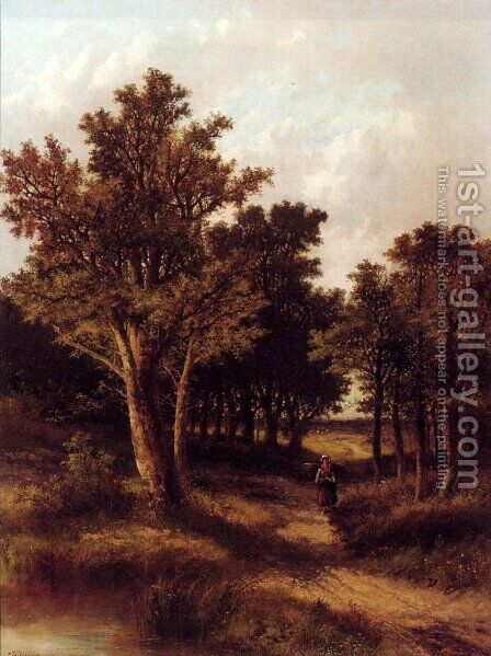 A Wooded Landscape With A Faggot Gatherer On A Sandy Track by Abraham Hulk Jun. - Reproduction Oil Painting