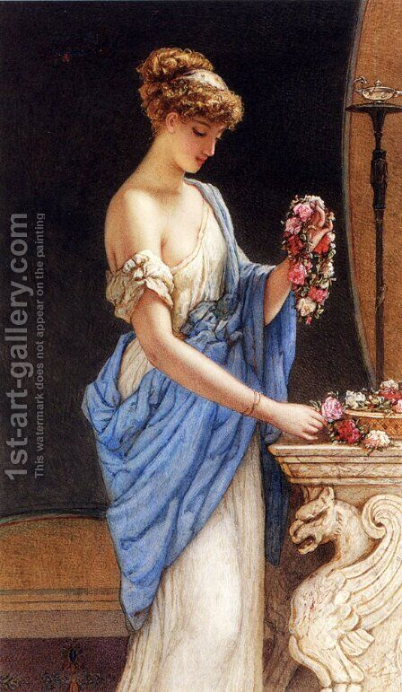 A Girl In Classical Dress Arranging A Garland Of Flowers by Auguste Jules Bouvier, N.W.S. - Reproduction Oil Painting