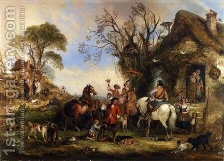 A Hawking Party by Henry Andrews - Reproduction Oil Painting