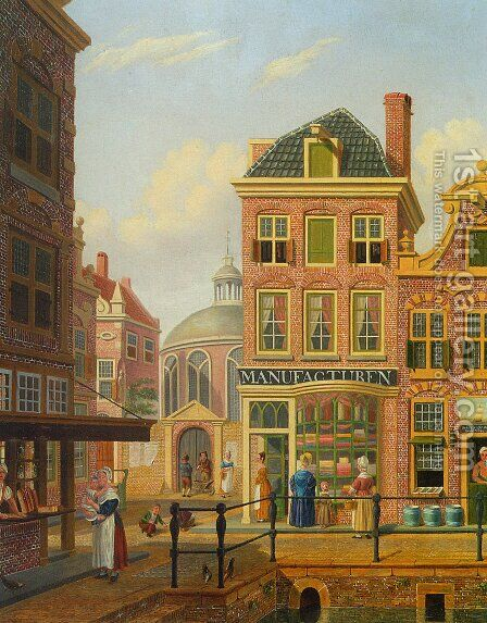 A Capriccio View in Amsterdam by Jan Hendrik Verheijen - Reproduction Oil Painting