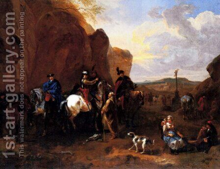 Cossacks On Horseback Asking A Hermit For Directions by Dirck Maas - Reproduction Oil Painting