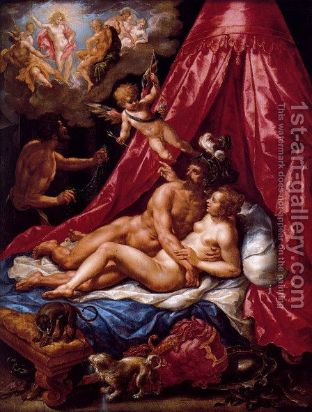 Mars And Venus Surprised By Apollo by Hendrick De Clerck - Reproduction Oil Painting
