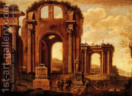 An architectural capriccio with figures by a statue and a fountain by Giovanni Ghisolfi - Reproduction Oil Painting