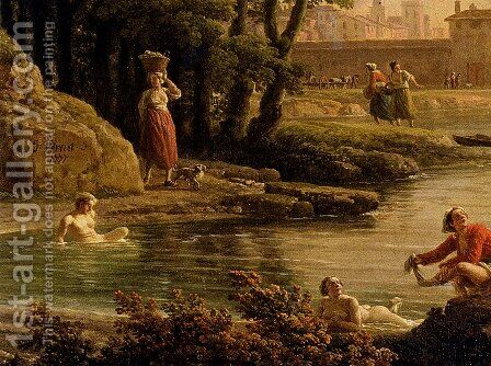 Landscape With Bathers - detail by Claude-joseph Vernet - Reproduction Oil Painting