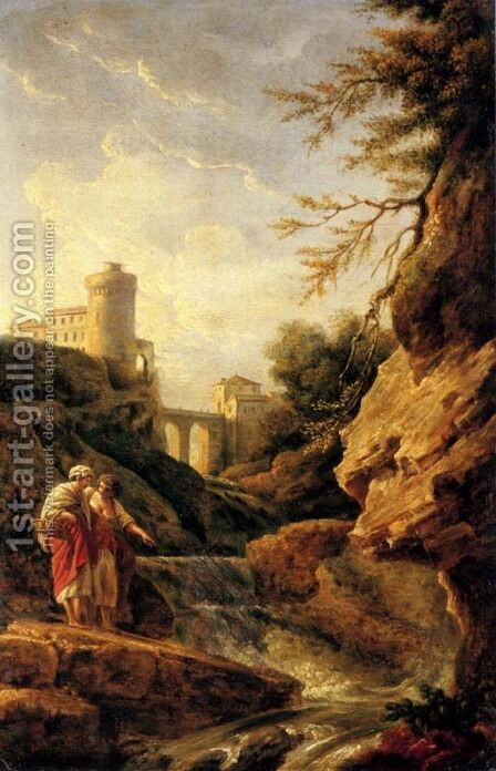 Two female peasants by a waterfall, a town and aqueduct beyond by Claude-joseph Vernet - Reproduction Oil Painting