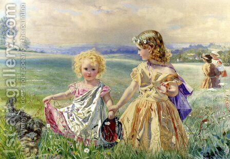 Children Garlanded With Flowers In A Meadow by J. Deane Simmons - Reproduction Oil Painting