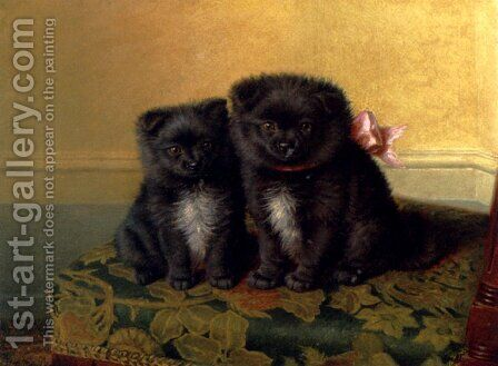 Two Chow Pups Seated On A Chair In An Interior by Horatio Henry Couldery - Reproduction Oil Painting