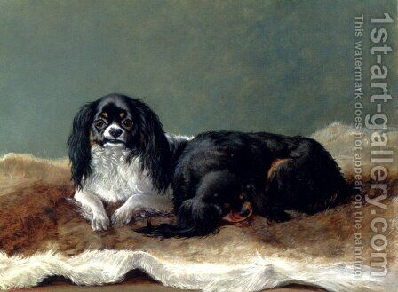Two Kings Charles Spaniels by Ashburnham H. Bulley - Reproduction Oil Painting