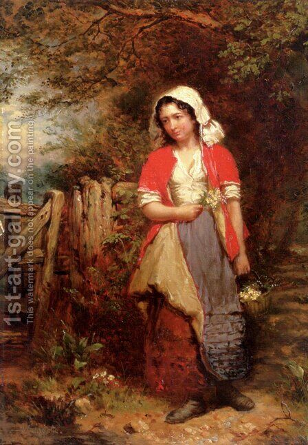 The Primrose Gatherer by Henry Campotosto - Reproduction Oil Painting