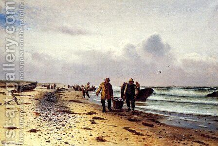 Bringing In The Catch, Skagen by Holger Lubbers - Reproduction Oil Painting