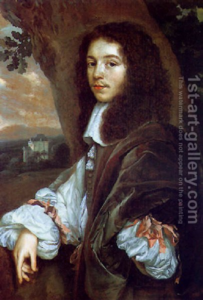 Portrait of Christaen Huygens in a landscape, a country house beyond by Jan Mytens - Reproduction Oil Painting