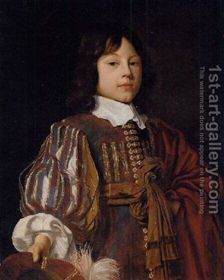 Portrait of a young gentleman in a burgundy doublet with slashed sleeves and a sash, a feathered cap in hand by Jan Mytens - Reproduction Oil Painting