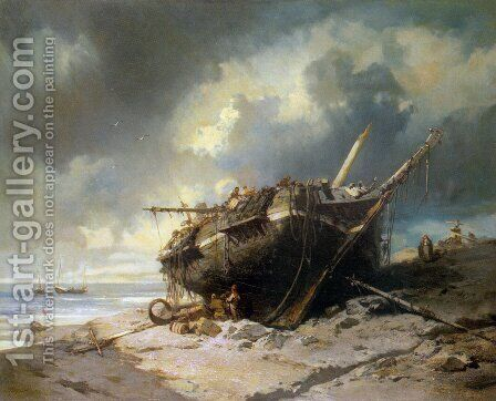 Dismantling a Beached Shipwreck by Charles Hoguet - Reproduction Oil Painting