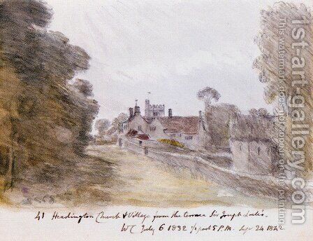 Headington Church And Village From The Terrace Of Sir Joseph Lock's by Dr. William Crotch - Reproduction Oil Painting