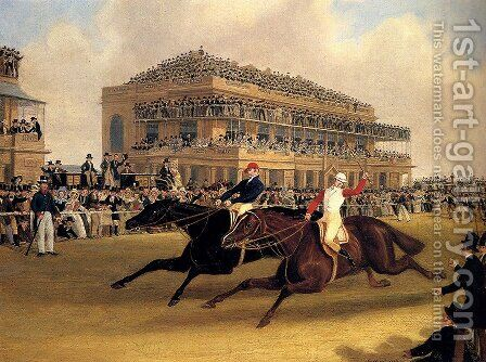 Priam beating Retriever at Doncaster on September 23, 1830 by James Pollard - Reproduction Oil Painting