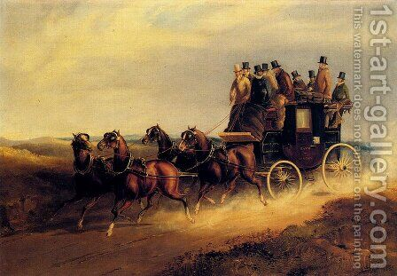 The Bath to London Coach on the Open Road by Charles Cooper Henderson - Reproduction Oil Painting