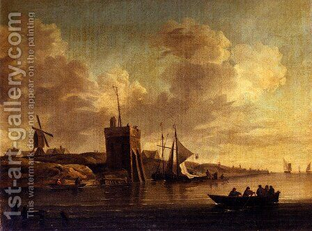 Two Views Of Blankenburg Castle Off The Coast Of Flanders (Pic 2) by Charles Brooking - Reproduction Oil Painting