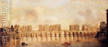 View Of Old London Bridge From The West by Claude De Jongh - Reproduction Oil Painting